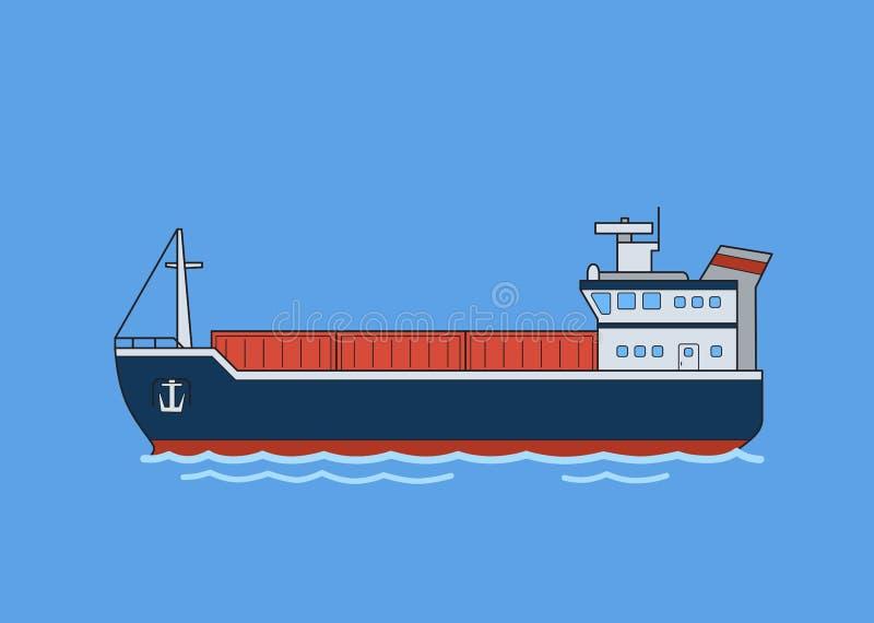 Barco del carguero del cargo Ejemplo plano del vector Aislado en fondo azul stock de ilustración