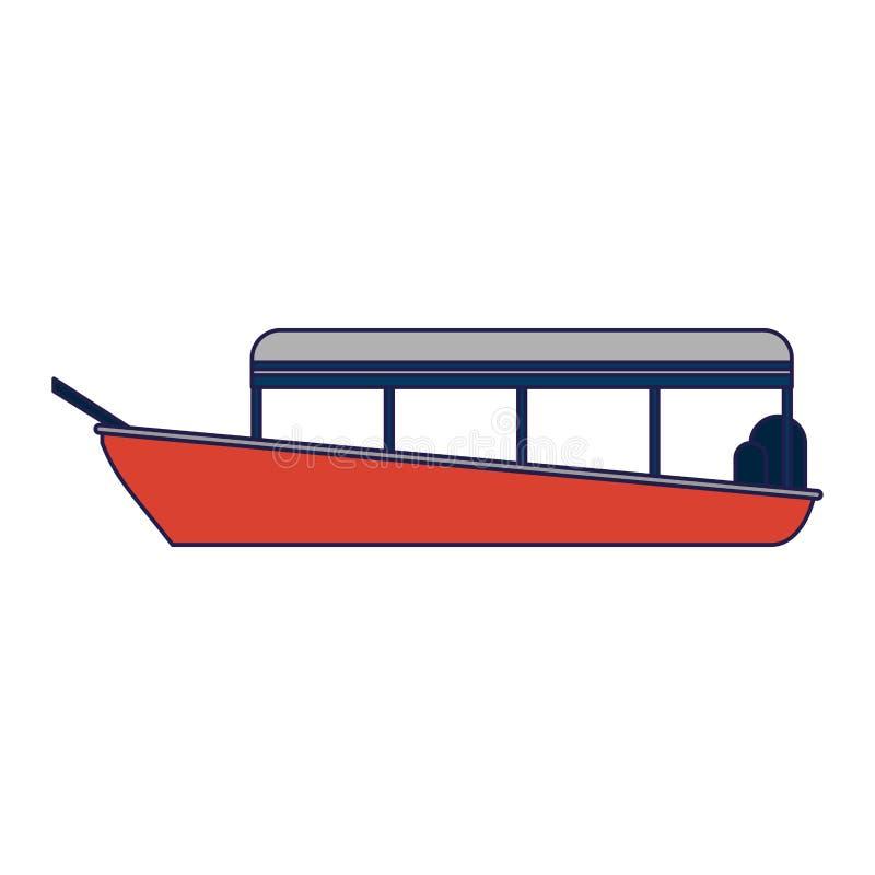 Barco del carguero con las líneas azules de los envases ilustración del vector
