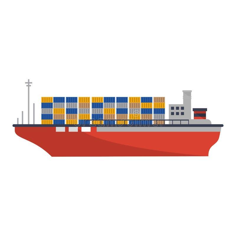 Barco del carguero con los envases libre illustration