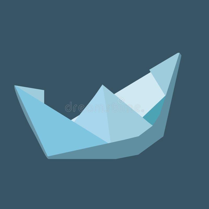 Barco del papel hecho a mano en colores azules - vector el ejemplo foto de archivo libre de regalías