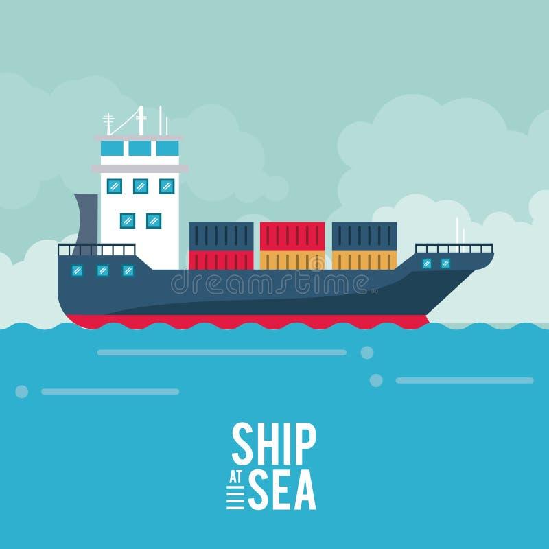 Barco do cargueiro no mar ilustração stock