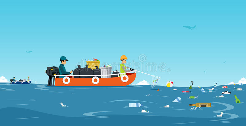 Barco do lixo do mar ilustração royalty free