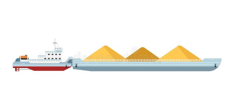 Barco do reboque com barca da carga ilustração royalty free