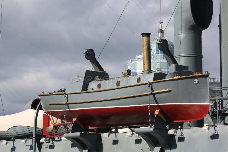 Barco do vapor a bordo do cruzador velho fotos de stock