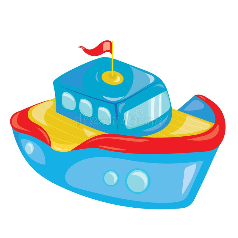 Barco dos desenhos animados no fundo branco Um navio do brinquedo para crianças Ilustração colorida do vetor para crianças ilustração do vetor