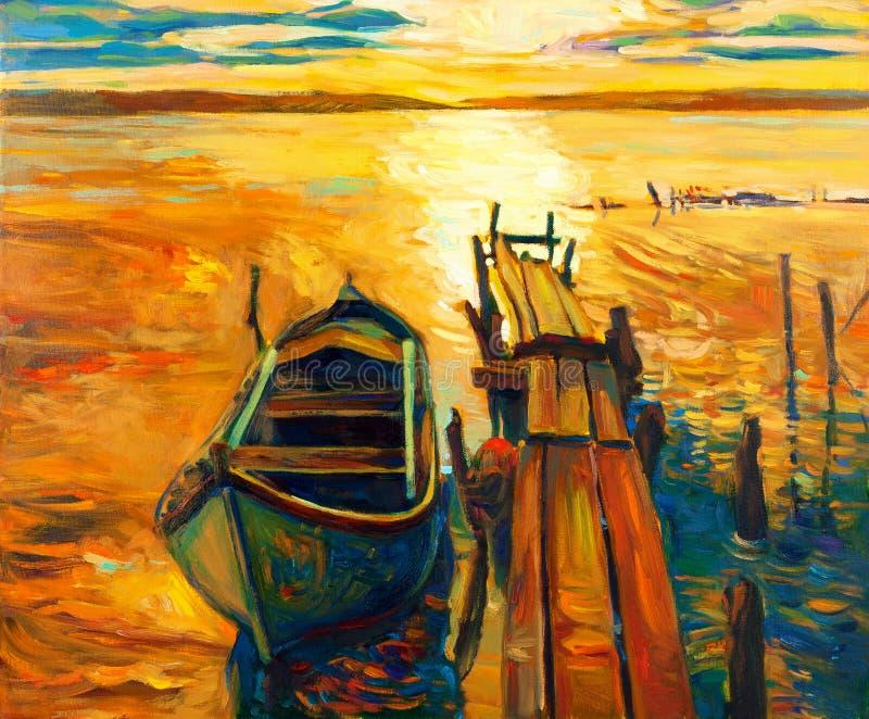 Barco e cais ilustração do vetor