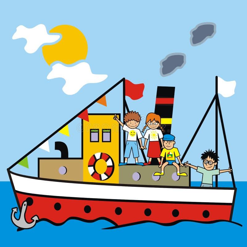 Barco e crianças ilustração do vetor