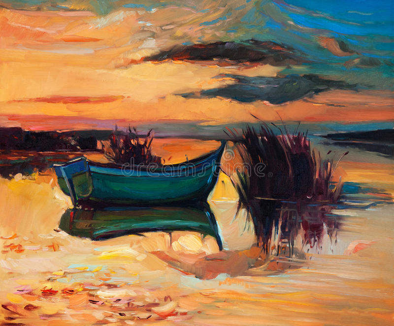 Barco e lago ilustração stock