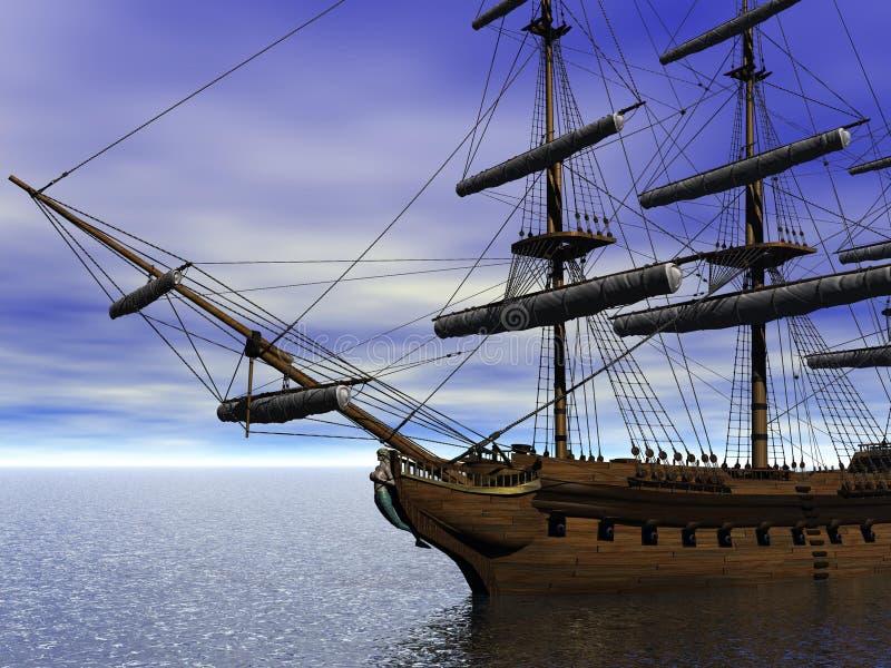Barco e mar e azul-céu ilustração stock