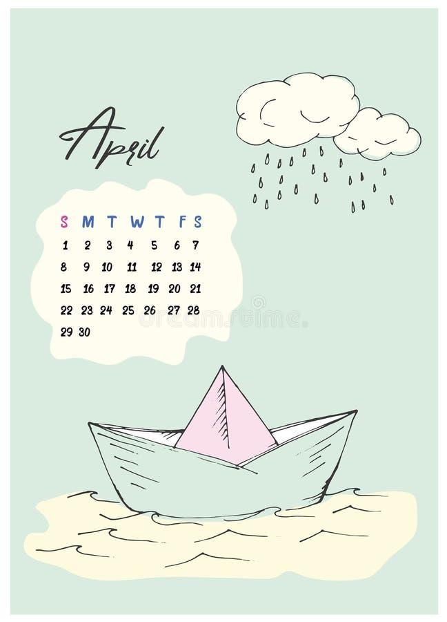 Barco e nuvem de papel da garatuja com chuva fotos de stock