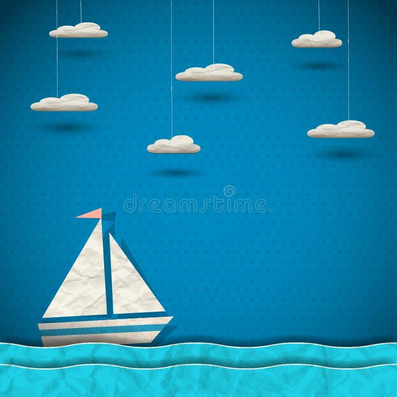 Barco e nuvens de navigação ilustração stock