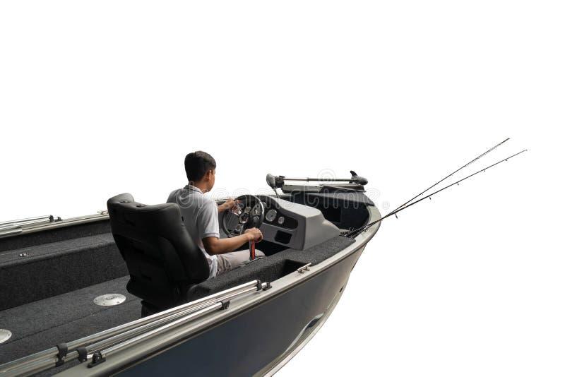 Barco e pescador de pesca no oceano, fundo branco, clipingpath fotos de stock