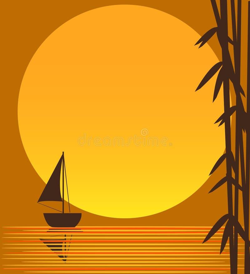 Barco e sol ilustração stock