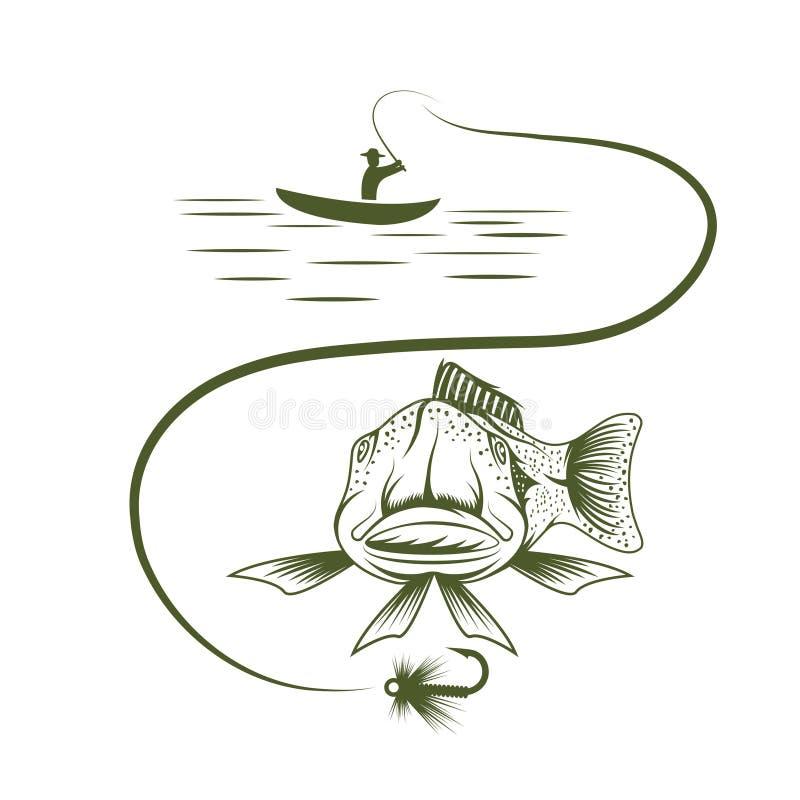 barco e truta engraçada ilustração royalty free