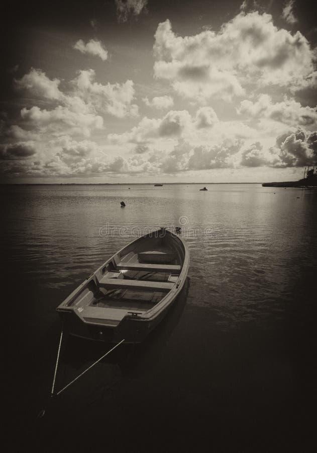 Barco en el lago en sepia imágenes de archivo libres de regalías