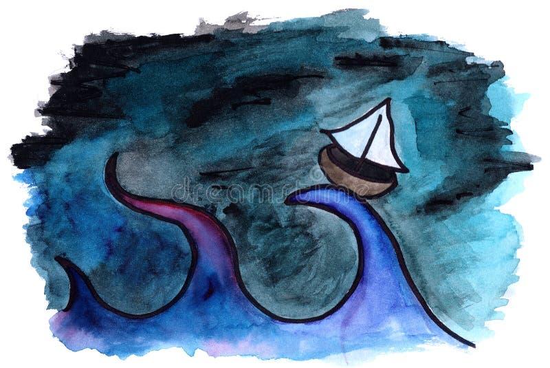 Barco en el mar stock de ilustración