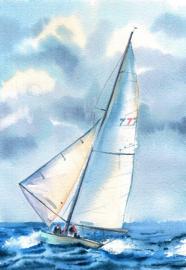 Barco en el mar Paisaje marino exhausto del ejemplo de la mano de la acuarela con el velero stock de ilustración