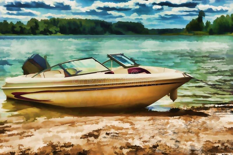 Barco en la pintura digital de la acuarela de la playa ilustración del vector