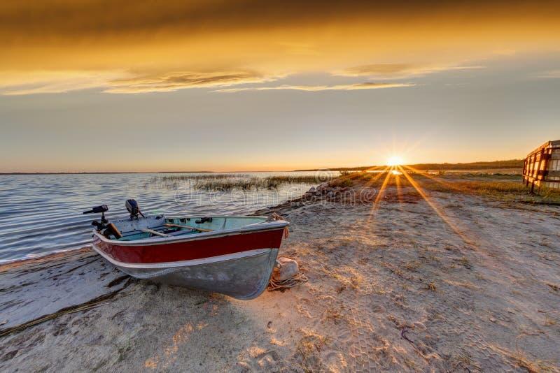 Barco en la playa en la salida del sol sobre el lago buffalo, Alberta fotografía de archivo libre de regalías