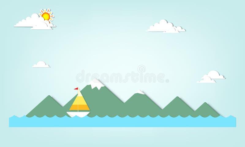 Barco en un fondo de montañas libre illustration