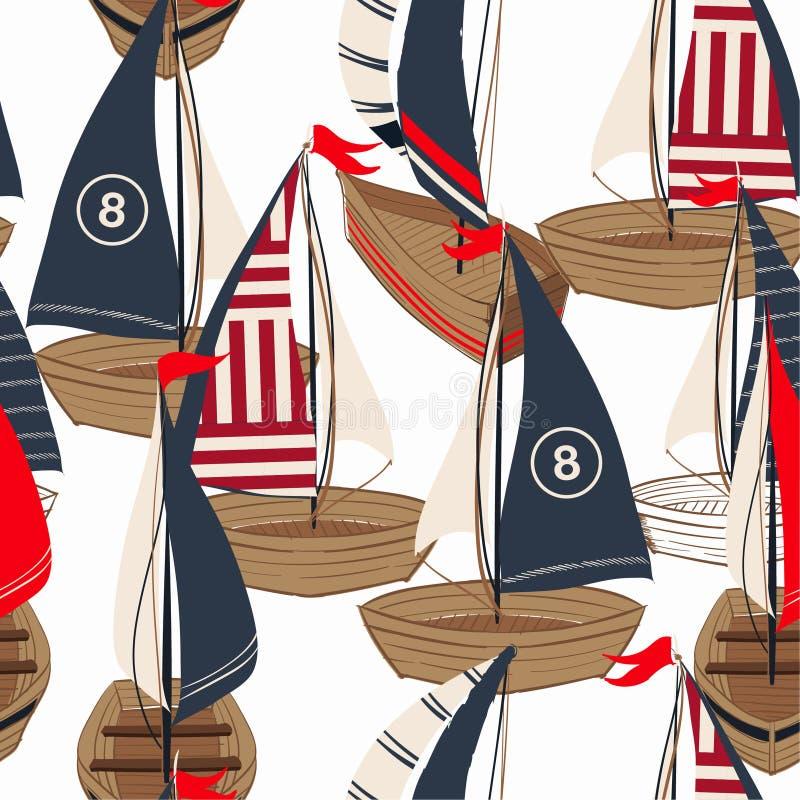 Barco exhausto de la mano hermosa en el modelo inconsútil del océano en el diseño del vector para la moda, la tela, la web, el pa stock de ilustración