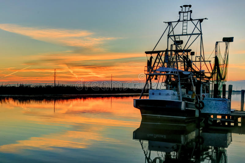 Barco HDR do camarão de Louisiana imagem de stock