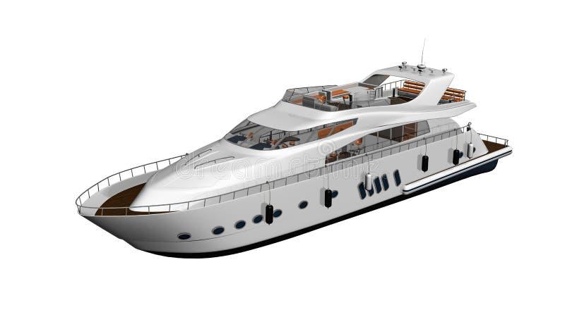 Barco, iate, embarcação luxuosa isolada no fundo branco ilustração stock