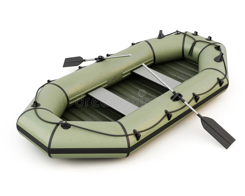 Barco inflable aislado en el fondo blanco ilustración del vector