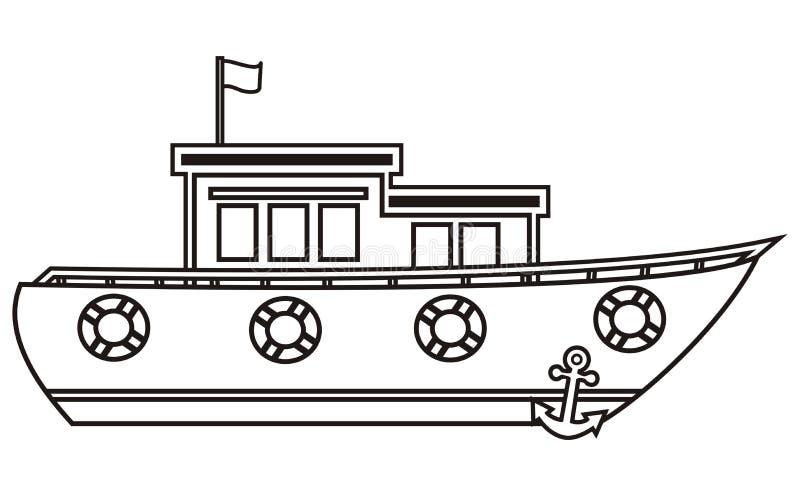 Barco, livro para colorir ilustração stock