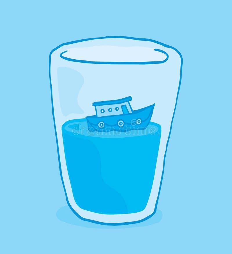 Barco minúsculo que flutua no vidro da água ilustração royalty free