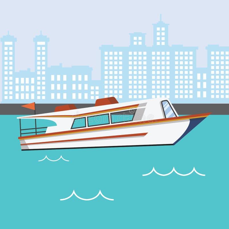 Barco moderno da velocidade no rio com construções ilustração stock