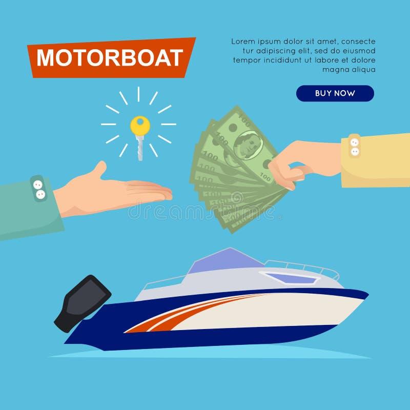 Barco a motor de compra em linha Venda do barco Bandeira do Web ilustração do vetor