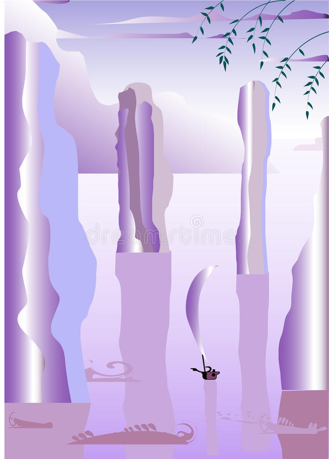 Barco na água Mystical ilustração stock