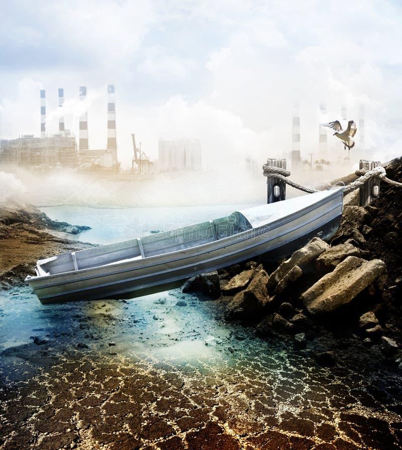 Barco na cama de lago seco ilustração stock