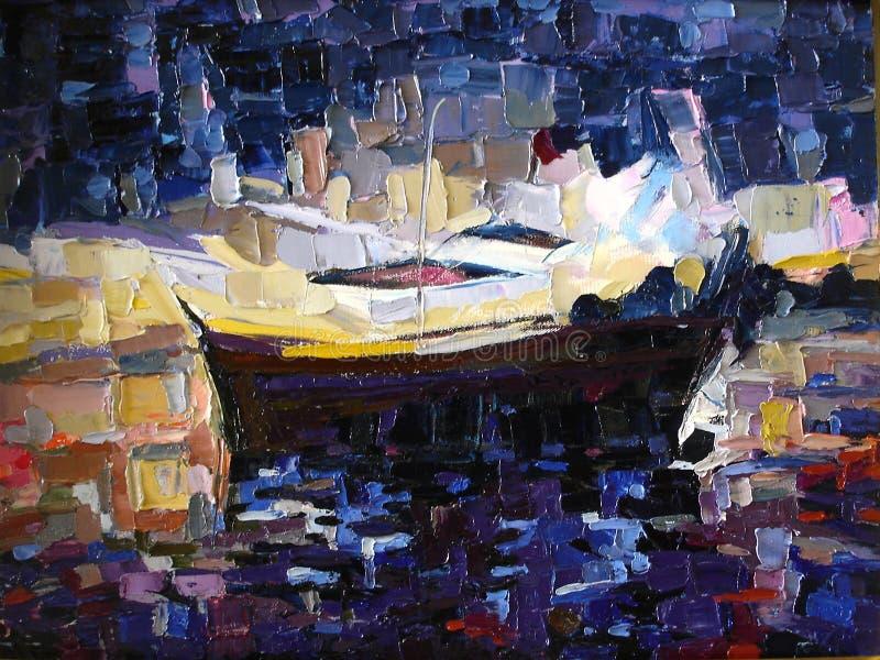 Barco na praia na pintura a óleo da expressão do pôr do sol foto de stock
