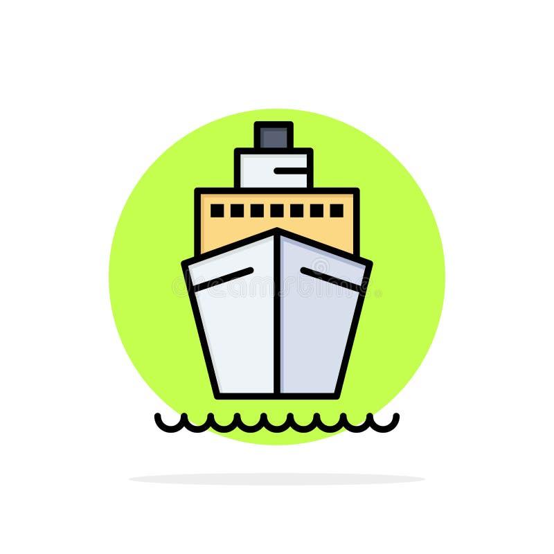 Barco, navio, transporte, ícone liso da cor do fundo do círculo do sumário da embarcação ilustração royalty free