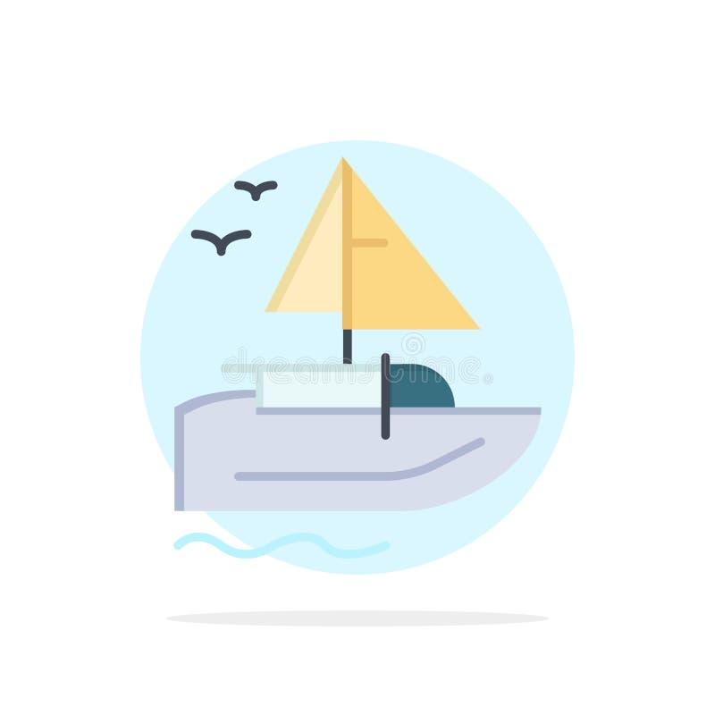 Barco, navio, transporte, ícone liso da cor do fundo do círculo do sumário da embarcação ilustração stock
