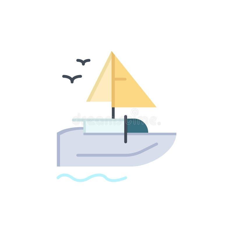 Barco, navio, transporte, ícone liso da cor da embarcação Molde da bandeira do ícone do vetor ilustração stock