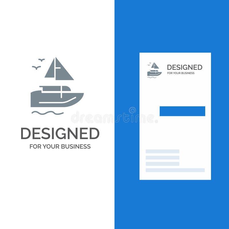 Barco, navio, transporte, embarcação Grey Logo Design e molde do cartão ilustração do vetor