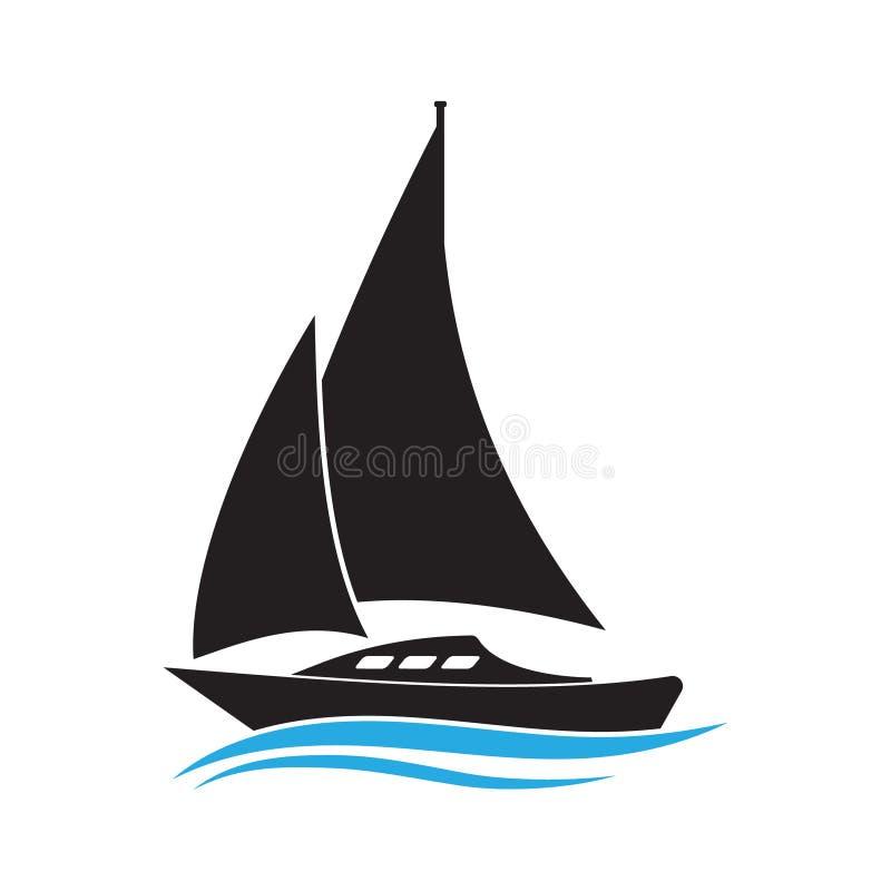 Barco no ícone do vetor de onda Ilustração do veleiro Pictograma isolado simples do iate ilustração royalty free