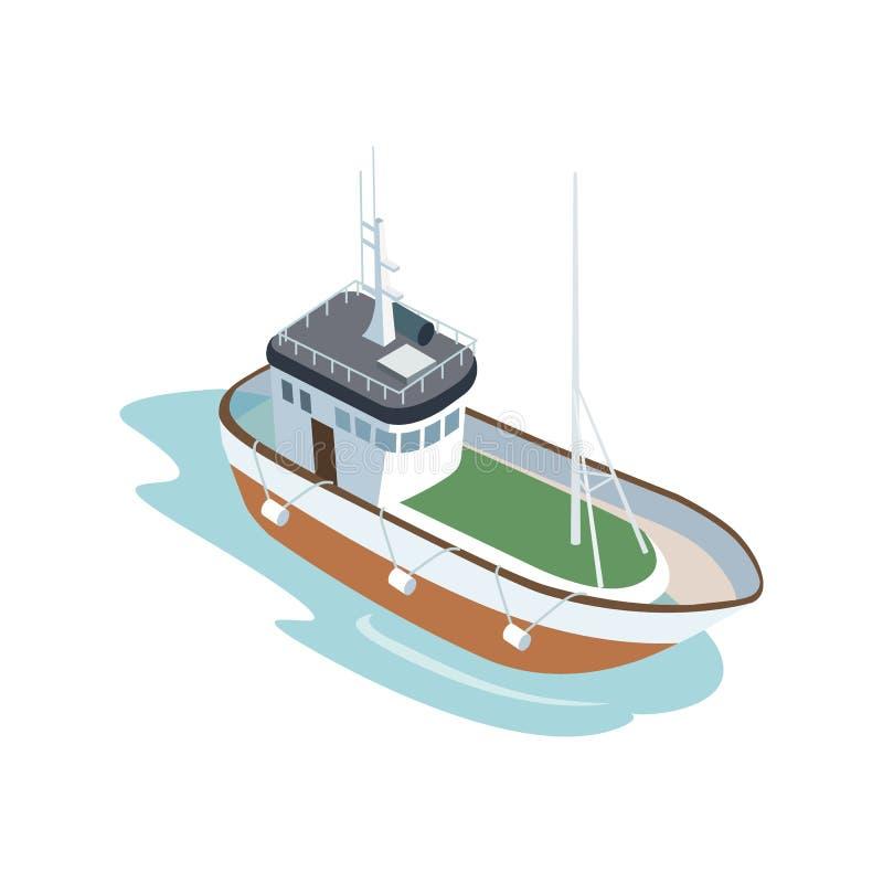 Barco no oceano no fundo branco ilustração royalty free
