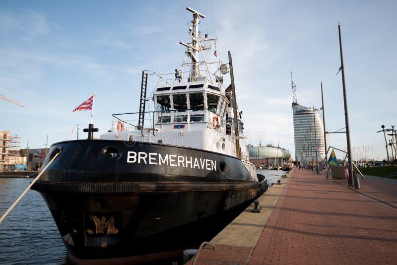 Barco-patrulha em Bremerhaven, Alemanha imagem de stock royalty free
