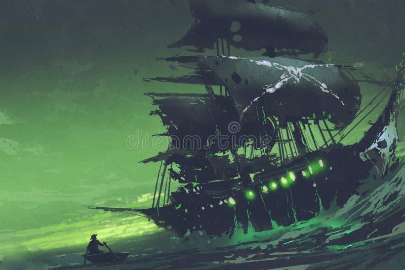 Barco pirata del fantasma del holandés errante en el mar con la luz verde misteriosa stock de ilustración