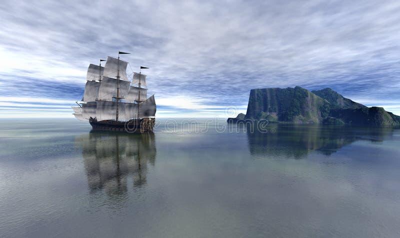 Barco pirata en el cielo azul y el mar tranquilo hermoso, representación 3d ilustración del vector