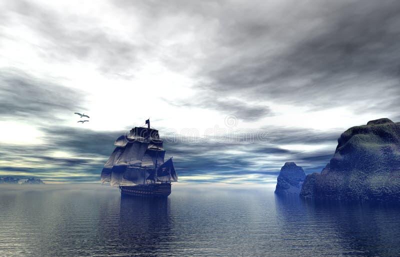 Barco pirata en la tarde hermosa stock de ilustración