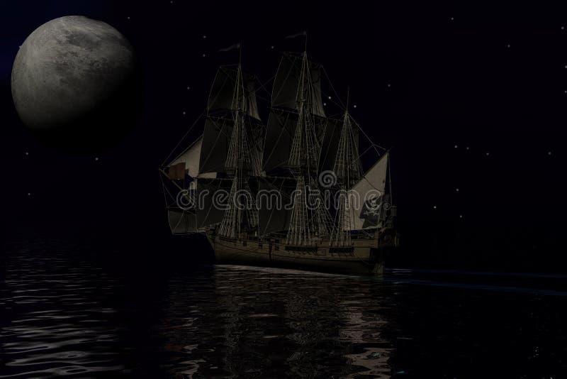 Barco pirata, representación 3d ilustración del vector