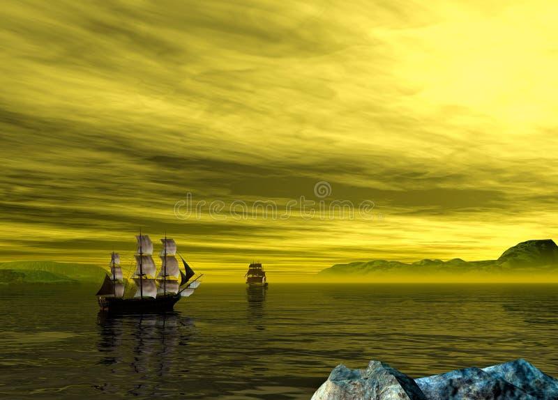 Barco pirata viejo dos en un paisaje amarillo de la puesta del sol representación 3d stock de ilustración