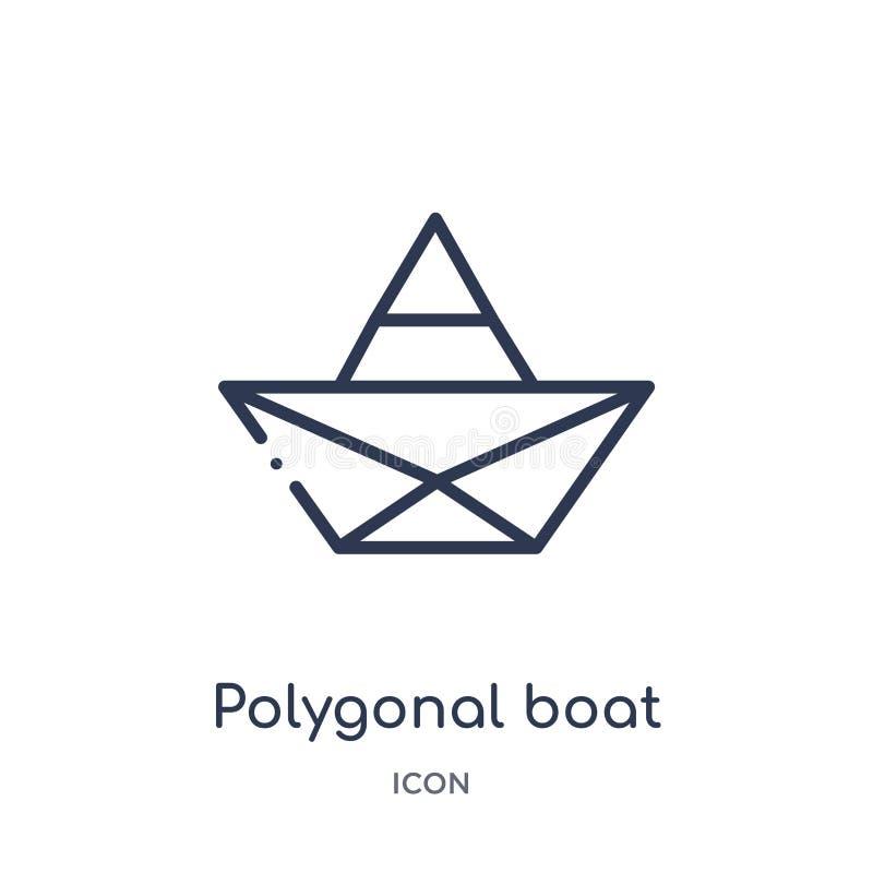 Barco poligonal linear del pequeño icono de los triángulos de la colección del esquema de la geometría Línea fina barco poligonal ilustración del vector
