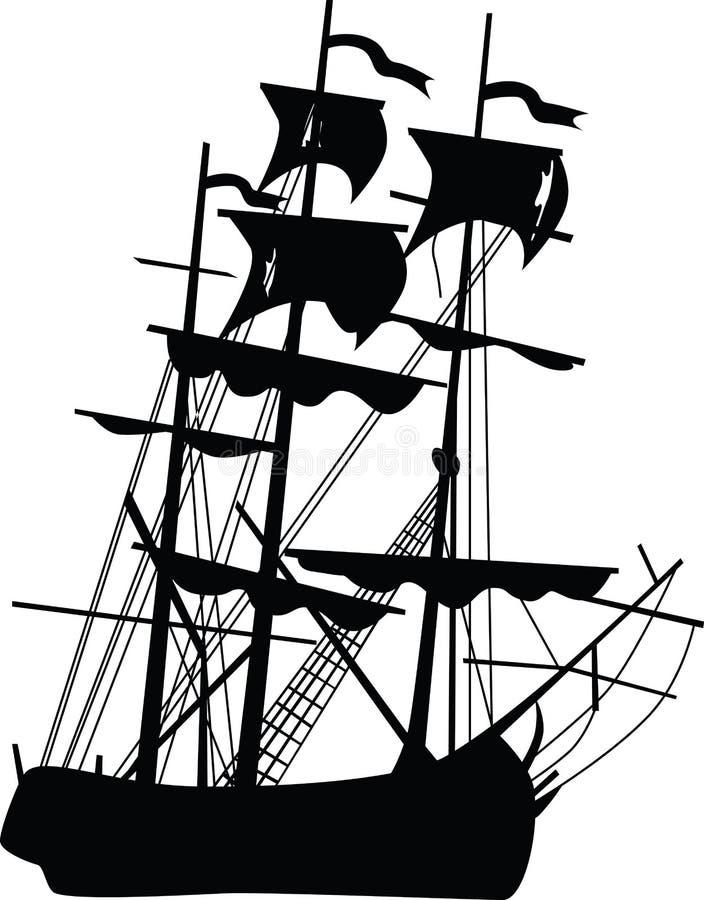 Barco preto ilustração stock