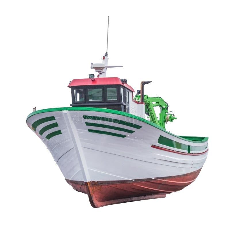 Barco rastreador de la pesca aislado en el fondo blanco imagen de archivo libre de regalías